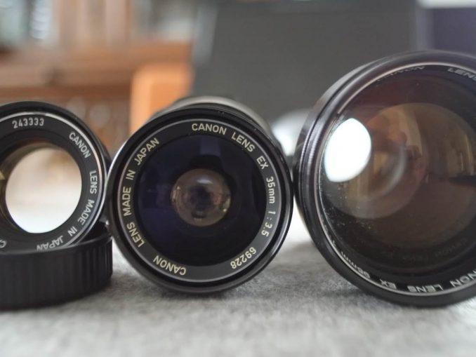 Canon EX EE Rücklinse ausbauen und Satzobjektive wechselbare Frontlinsen 1,8 50 mm, 3,5 35mm, 3,5 95 mm adaptieren